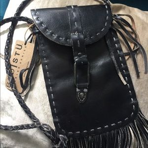 Bed Stu Bags - BedStu Black, leather messenger with fringe.